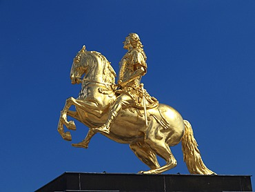 The golden rider of monument August of the strong in Dresden, Saxony, Germany