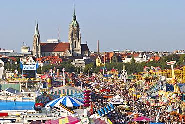 Oktoberfest Munich - view from ferris wheel - church St. Paul