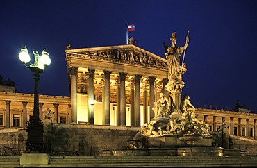 Parliament and Palas Athena fountain , Vienna Austria