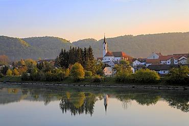 Marktl, view over Inn river, Upper Bavaria, Germany