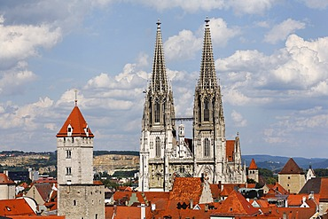 Golden Tower and cathedral, Regensburg, Upper Palatinate, Bavaria, Germany