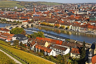 Wuerzburg, Main river, Franconia, Bavaria, Germany