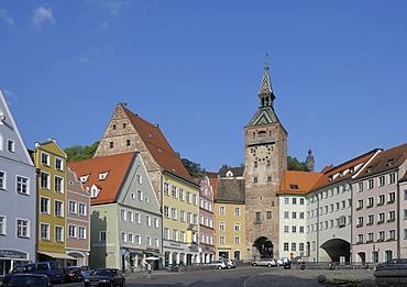 Schmalzturm tower, main square, Landsberg am Lech, Bavaria, Germany, Europe