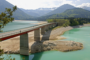 Water shortage in April 2007, Lake Sylvenstein, Upper Bavaria, Germany