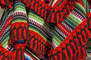 Colourful textiles, souvenirs, Ronda, Andalusia, Spain