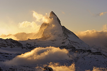 Mt Matterhorn in the light of the setting sun, Zermatt, Valais, Switzerland, Europe, Europe