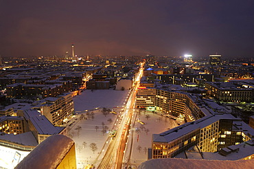Night illumination of the city, Potsdamer Platz square, Berlin, Germany, Europe
