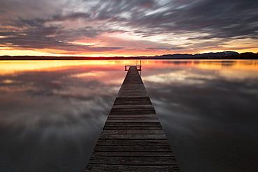 Morning Mood, jetty at Lake Starnberg near Tutzing, Bavaria, Germany, Europe, PublicGround