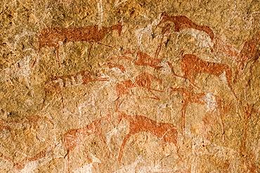 Prehistoric rock painting at Jebel Uweinat, Jabal al Awaynat, Libya