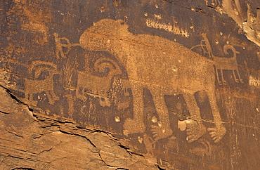 Indian or native american rock art, Colorado River Canyon near Moab, Utah, USA