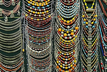 Silver necklaces at a souvenir shop in the bazaar of Sana´a, Yemen