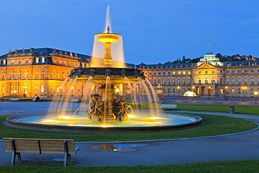 Neues Schloss Castle, New Palace, Schlossplatz square, Stuttgart, Baden-Wuerttemberg, Germany, Europe