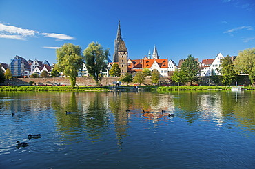 Panorama across the Danube River towards Ulm with Ulm Minster and Metzgerturm, Butchers Tower, Baden-Wuerttemberg, Germany, Europe, PublicGround