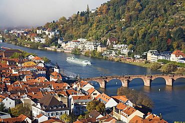 Historic centre of Heidelberg with Old Bridge and Neckar River, view from the Heidelberg Castle, Baden-Wuerttemberg, Germany, Europe