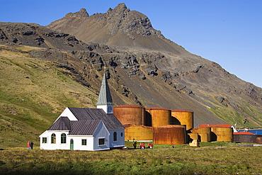 Church of Grytviken, former whaling station, King Edward Cove, South Georgia, South Sandwich Islands, British Overseas Territory, South Atlantic Ocean, Subantarctic, Antarctica
