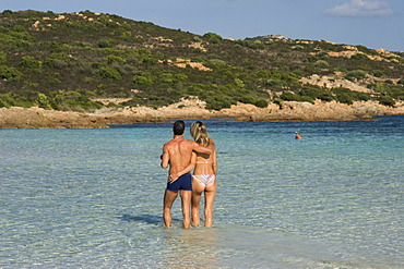 Couple in love at Cala Brandinchi Sardinia Italy