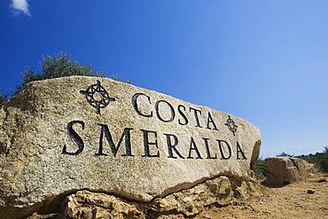 """Rock with inscription """"Costa Smeralda"""", Sardinia, Italy"""