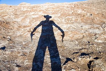 Gunfighter as shadow, Atacama Desert, Chile, South America