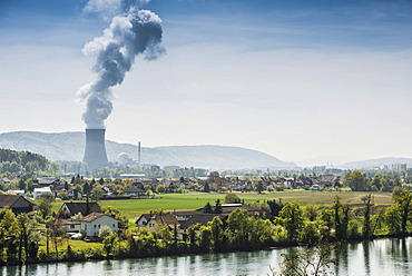 Leibstadt Nuclear Power Plant and village, Leibstadt, Canton of Aargau, Switzerland, Europe