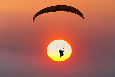 Paraglider in front of sun, sunset