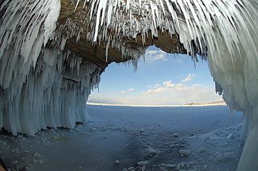 Ice cave on Olkhon island, Lake Baikal, Siberia, Russia, Eurasia, Europe