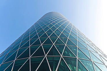 High-rise building, Westhafen Tower, nicknamed Apple Wine Tower after the shape of a typical Frankfurtian cider glass, detail of the glass facade, Frankfurt am Main, Hesse, Germany, Europe