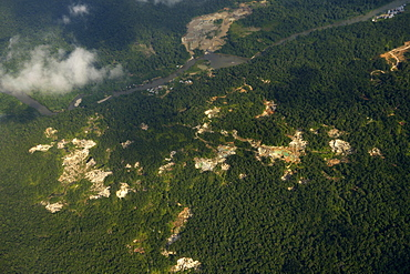 Illegal gold mines in rainforest, Chocó Department, Colombia, South America