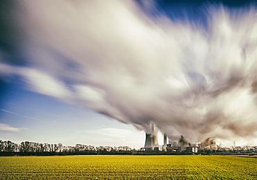 Steam clouds, lignite-fired power plant Niederaussem, North Rhine-Westphalia, Germany, Europe