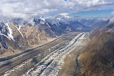 Aerial view over the Central Tian Shan Mountain range, Border of Kyrgyzstan and China, Kyrgyzstan, Asia