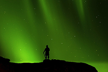 Northern lights, in front Leif Erikson statue, Brattahlid, South Greenland, Greenland, North America