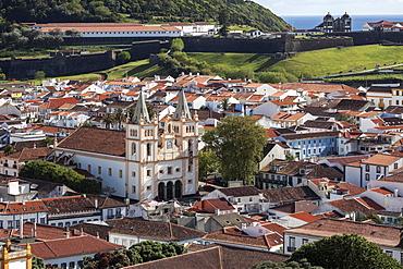 View from the Alto da Memoria to the old town of Angra do Heroismo, central cathedral, Cathedral, Se Catedral, Igreja de Santissimo Salvador da Se, UNESCO World Heritage Site, Terceira Island, Azores, Portugal, Europe