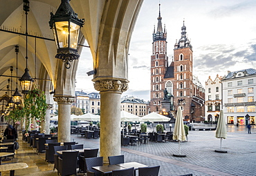 Cloth Hall and Saint Mary's Basilica on main Market Square in Krakow, Poland, Europe