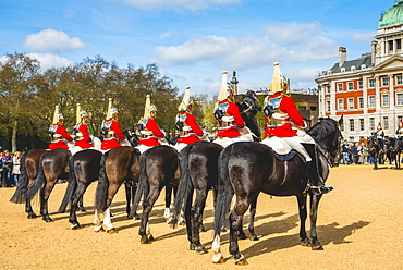 The Royal Guards in red uniform on horses, The Life Guards, Household Cavalry Mounted Regiment, parade ground Horse Guards Parade, Changing of the Guard, Old Admiralty Building, Whitehall, Westminster, London, England, United Kingdom, Europe