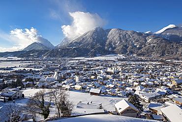 View of Schwaz, Winter, Tyrol, Austria, Europe