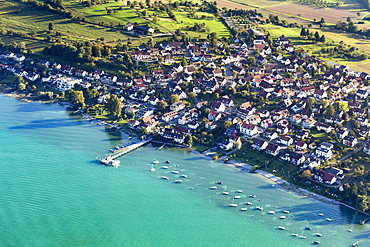 Aerial view, Dingelsdorf, Lake Constance, Konstanz, Baden-Württemberg, Germany, Europe