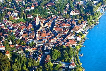 Aerial view, Überlingen, Lake Constance, Baden-Württemberg, Germany, Europe