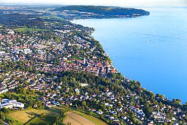 Aerial view, Überlingen, Birnau and Uhldingen, Lake Constance, Baden-Württemberg, Germany, Europe