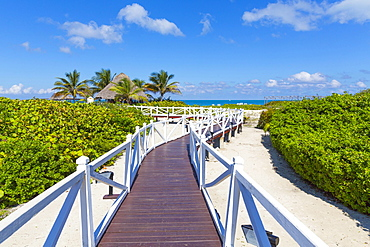 Jetty to the beach, Hotel Melia Las Dunas, island of Cayo Santa Maria, Caribbean, Cuba, Central America