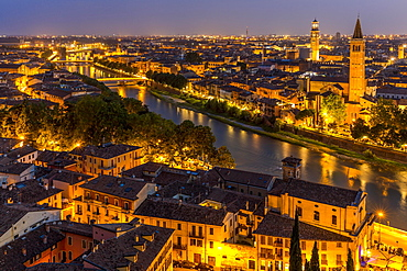 View at dusk from the hill of San Pietro to the old town, river Adige with Roman bridge Ponte Pietra, Verona, Veneto, Italy, Europe