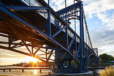 Kaiser-Wilhelm Bridge at sunset, Wilhelmshaven, Lower Saxony, Germany, Europe