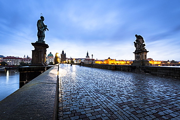 Charles Bridge at dusk, Prague, Bohemia, Czech Republic, Europe