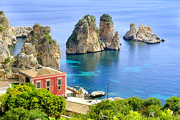 Hotel Tonnara di Scopara by the sea, Zingaro Nature Reserve, near Castellammare, Sicily, Italy, Europe