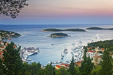 View of the harbor and city of Hvar, island of Hvar, Split-Dalmatia, Croatia, Europe