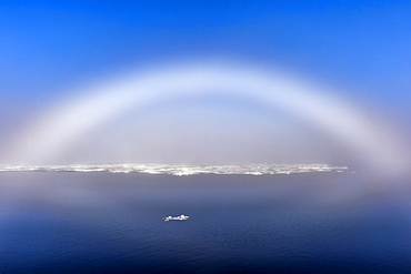 White Rainbow over the ice, Arctic Ocean, 81° North, Svalbard Archipelago, Norway, Europe