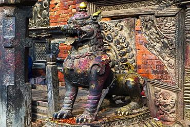 guard figure, Bhairabnath Temple, Taumadhi Tole square, Bhaktapur, Nepal, Asia