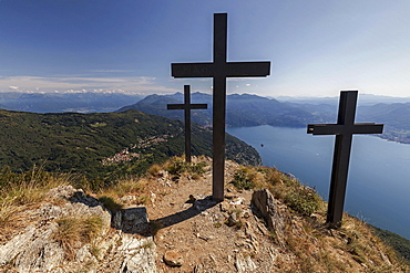 Crosses on Monte Morissolo, view of Trarego-Viggiona and Lago Maggiore, Verbano-Cusio-Ossola province, Piedmont region, Italy, Europe