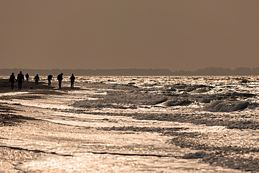 People on the beach by rough sea in the evening light, Darßer Ort, Fischland-Darß-Zingst, Western Pomerania Lagoon Area National Park, Baltic Sea coast, Mecklenburg-Western Pomerania, Germany, Europe
