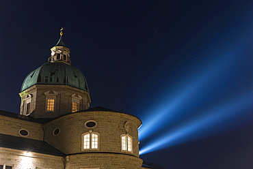 Dome of the cathedral at night with the headlights, historic centre, Salzburg, Austria, Europe