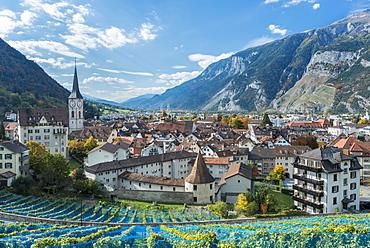 City view of Chur, Calanda right, Canton of Grisons, Switzerland, Europe