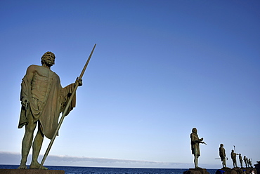 Statues of Guanchen Kings on the Candelaria Promenade, Mencey statues, Tenerife, Canary Islands, Spain, Europe